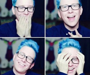 tyler oakley, blue hair, and youtuber image