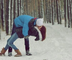 love, kiss, and winter image