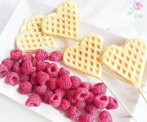 food, waffles, and raspberry image