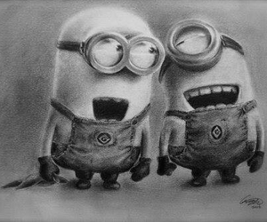 minions, drawing, and black and white image