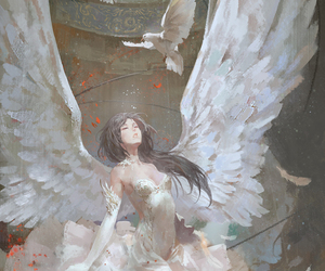 angel, girl, and rose image