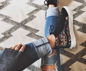 vans, floral, and sneakers image