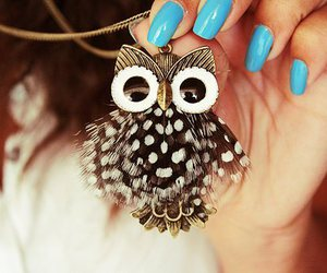 owl, nails, and necklace image