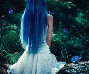 hair, blue, and butterfly image