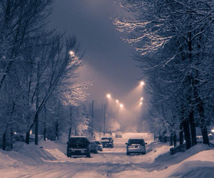 snow, winter, and street image