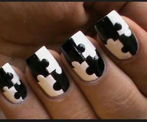 nails, puzzle, and black and white image