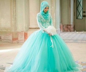 hijab, dress, and wedding image
