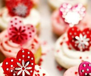 cupcake, heart, and pink image