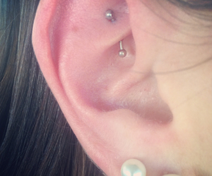 ear, silver, and earring image