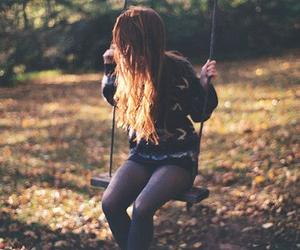 girl, hair, and swing image