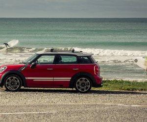 beach, mini cooper, and surf image