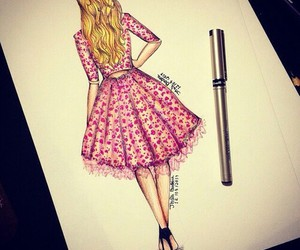 girl, pink, and dress image