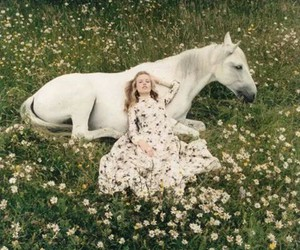 flowers, horse, and girl image