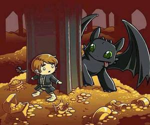 toothless, the hobbit, and smaug image