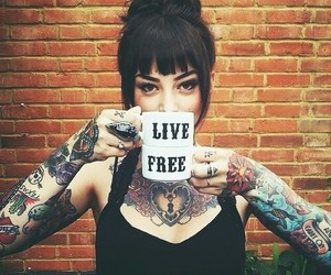 girl, tattoo, and free image