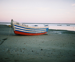 beach, boat, and photography image