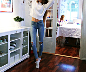 jeans, brunette, and fit image
