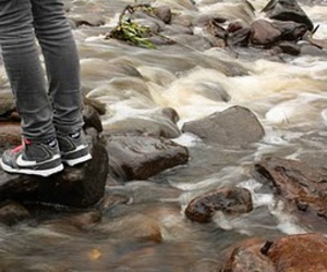 autumn, sneakers, and water image