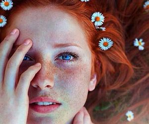 eyes, flowers, and hair image
