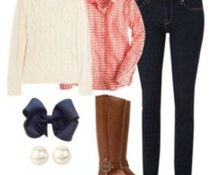 gingham, pearls, and tory burch image