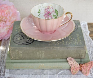 book, butterfly, and teacup image