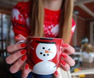 christmas, snowman, and red image
