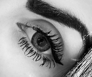 black, black and white, and eye makeup image