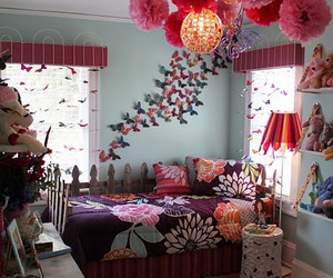 room, bedroom, and butterfly image