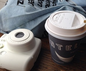 coffee, polaroid, and camera image