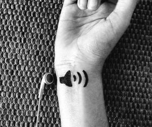 music, tattoo, and black image