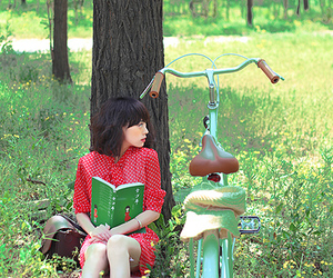 bicycle, book, and girl image