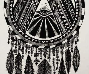 dream catcher, feather, and illuminati image
