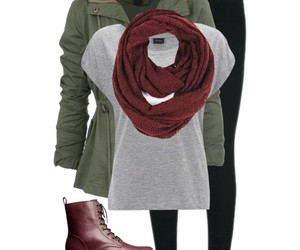 boots, scarf, and burgundy image