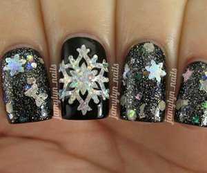 black, glitter, and nail polish image