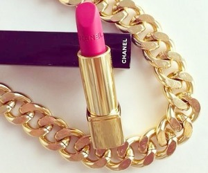 chanel, lipstick, and gold image
