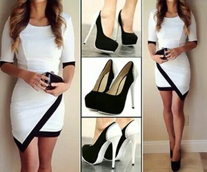black and white, dress, and shoes image