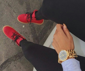 hand, red, and shoes image