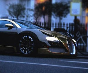 car, bugatti, and gold image