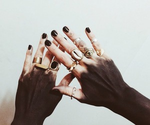 rings, hands, and black image