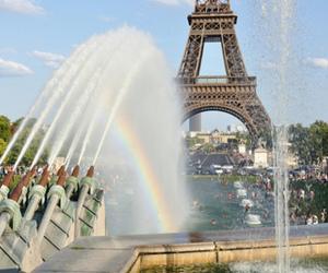eiffel tower and rainbow image