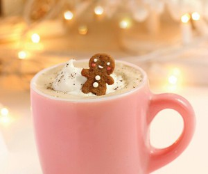 christmas, gingerbread, and hot ​chocolate image