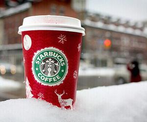 starbucks, snow, and winter image