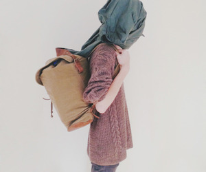 girl, backpack, and vintage image