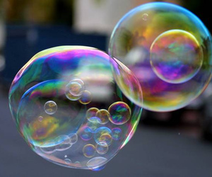 bubbles, color, and Flying image