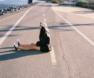 girl, road, and hipster image