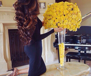 flowers, hair, and yellow image