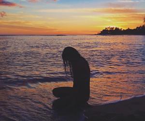 beach, girl, and night image