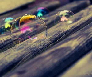 bench, bubbles, and rainbow image