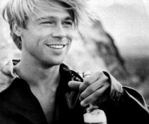 brad pitt, handsome, and black and white image