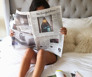 bed, newspaper, and morning image